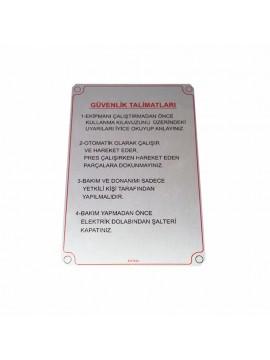 UV Metal Etiket ölçüler: 15 x 10 cm