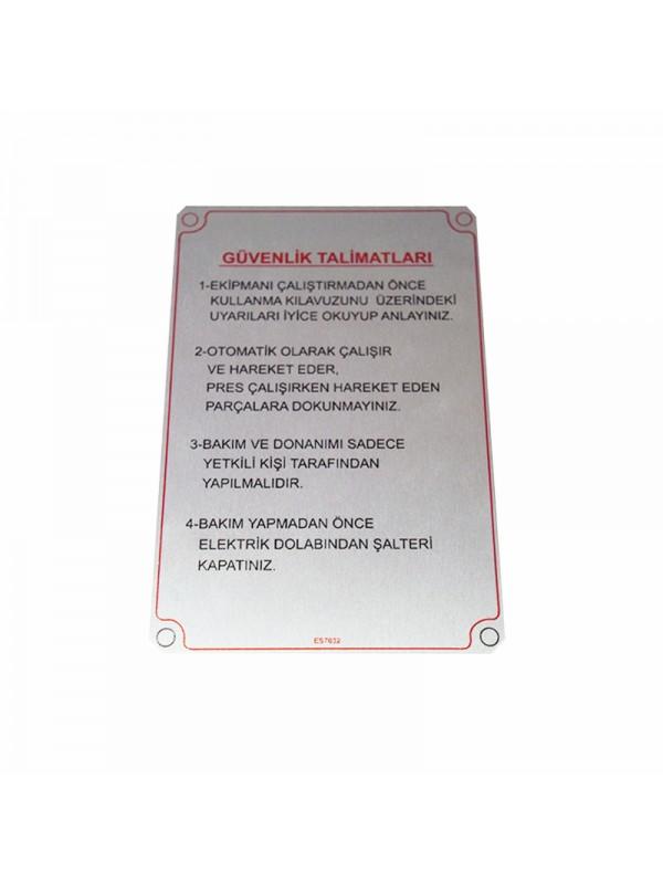 Metal Etiket ölçüler: 15 x 10 cm