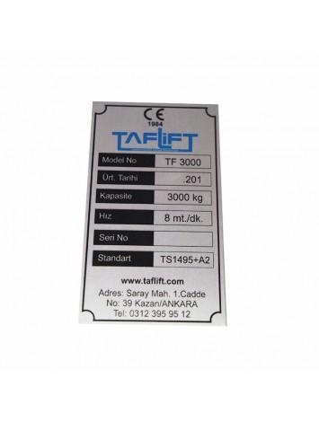 Metal Etiket ölçüler: 13,5 x 7,5 cm