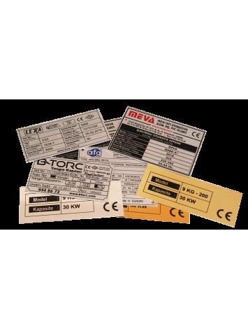 Metal etiket İmalatı Ölçü: 11 x 4,5 cm CE