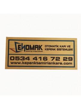 Metal etiket İmalatı Ölçü: 16 x 7 cm